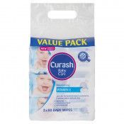 Curash Vitamin E Baby Wipes 3 x 80 Pack
