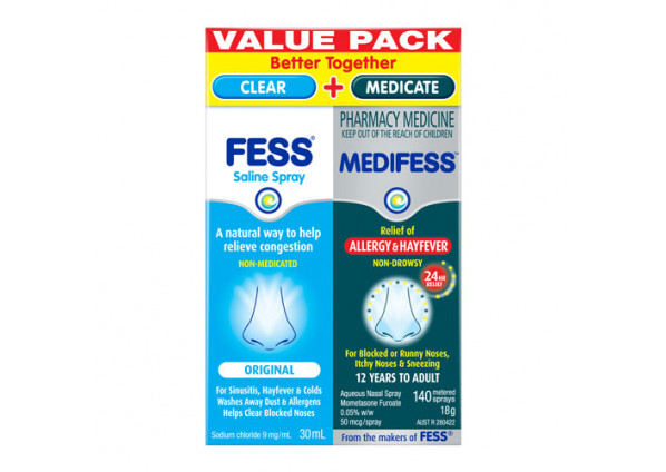 Medifess Allergy & Hayfever Nasal Spray 140 Metered Doses + Fess Saline Nasal Spray 30ml Value Pack