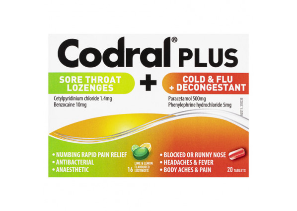 Codral Plus Sore Throat 16 Lozenges and Cold & Flu + Decongestant 20 Tablets