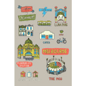 KE Design Tea Towel Melbourne Collage