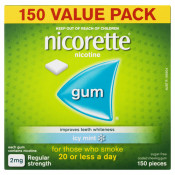 Nicorette Gum 2mg Regular Strength Coated Icy Mint 150 Pieces Value Pack