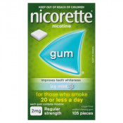 Nicorette Gum 2mg Regular Strength Coated Icy Mint 105 Pieces