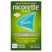 Nicorette Gum 2mg Regular Strength Uncoated Classic 105 Pieces