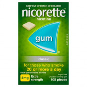 Nicorette Gum 4mg Extra Strength Uncoated Classic 105 Pieces