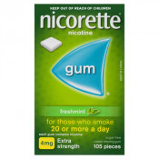 Nicorette Gum 4mg Extra Strength Coated Fresh Mint 105 Pieces
