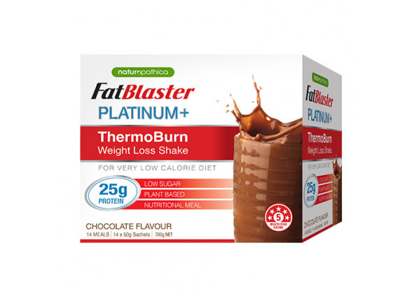 Naturopathica FatBlaster Platinum+ ThermoBurn Weight Loss Shake Chocolate 14 Sachets x 50g